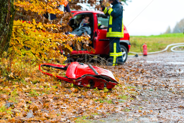 Stock photo: Accident - Fire brigade rescues Victim of a car
