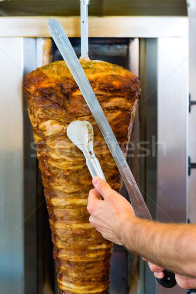 Kebab - hot Doner with fresh ingredients Stock photo © Kzenon