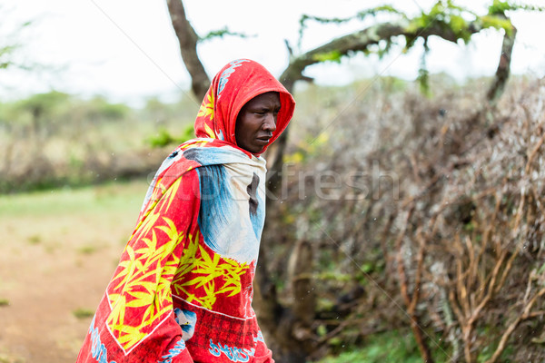 Massai man standing in the rain Stock photo © Kzenon