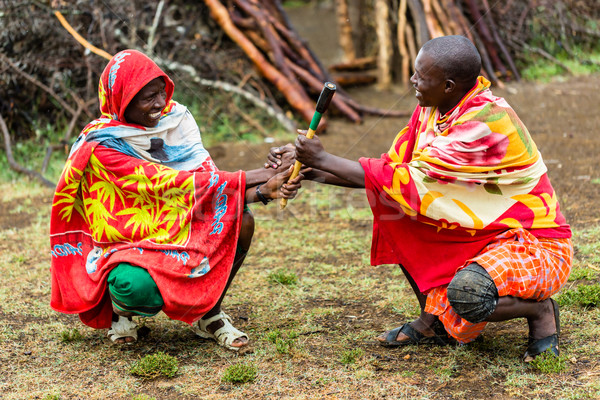 Massai men shaking hand concluding an agreement Stock photo © Kzenon