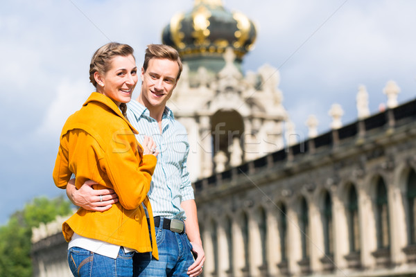 Stock photo: Tourist Couple in Dresden at Zwinger castle