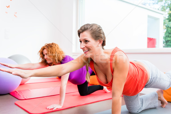 Two pregnant women exercising during prenatal class Stock photo © Kzenon