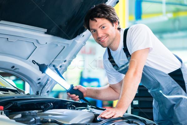 Auto mechanic working in car service workshop Stock photo © Kzenon