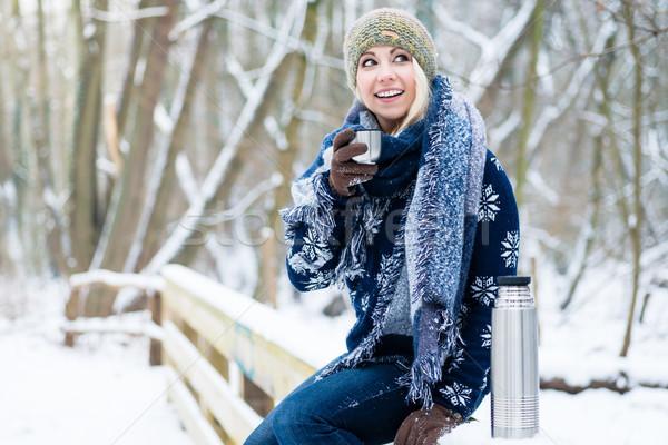 Mujer frío invierno día hasta caliente Foto stock © Kzenon