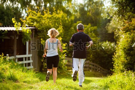 Couple doing Nordic Walking for sport Stock photo © Kzenon