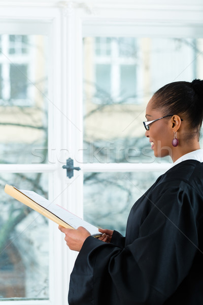 Lawyer in office with dossier standing an window Stock photo © Kzenon