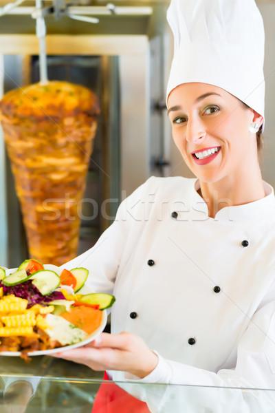 Kebab - hot Doner plate with fresh ingredients Stock photo © Kzenon