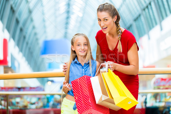 Mom with daughter shopping in mall or store Stock photo © Kzenon