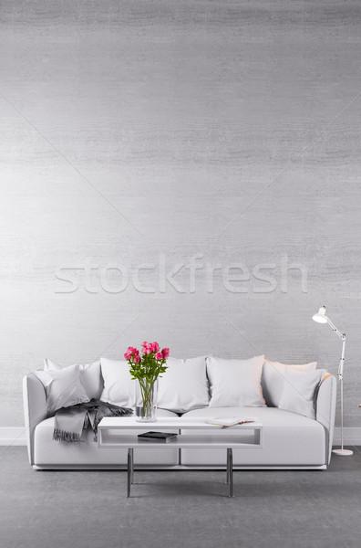 Divano bianco concrete muro piedi fronte Foto d'archivio © Kzenon