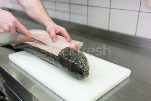 Chef restaurant keuken karper vis voedsel Stockfoto © Kzenon