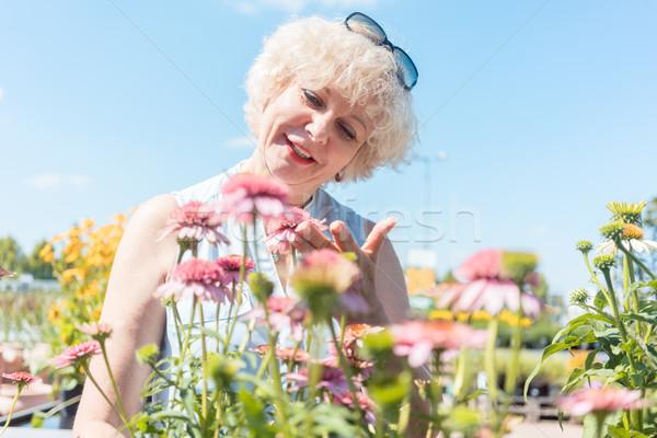 Portré derűs idős nő áll kert Stock fotó © Kzenon