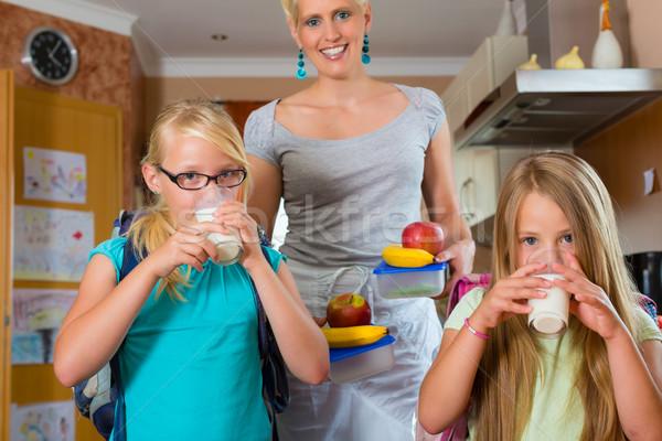 Famille mère déjeuner école enfants Photo stock © Kzenon