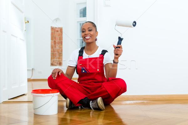 Woman in her home renovating diy Stock photo © Kzenon