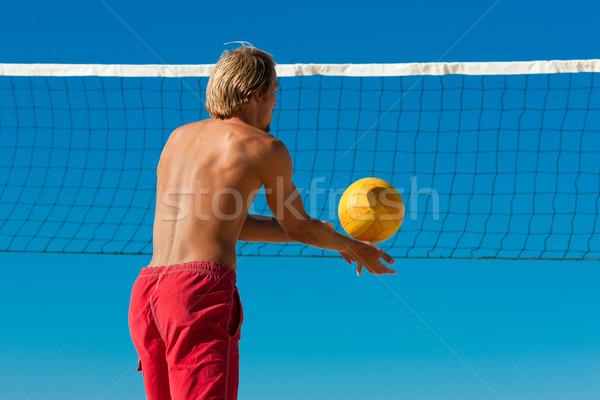 Foto stock: Praia · voleibol · homem · bola · jogar