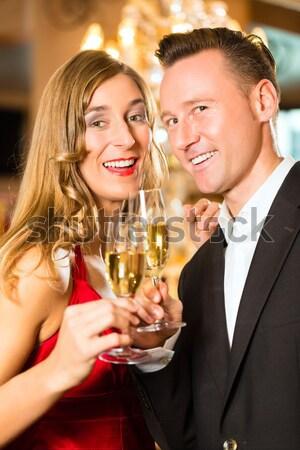 Mariage fête dîner couple verres Photo stock © Kzenon