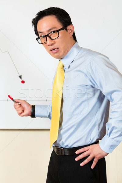 Asian Chinese Business Manager presenting bad forecast Stock photo © Kzenon