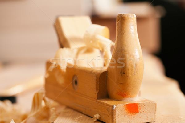 Planer in work shop of carpenter Stock photo © Kzenon