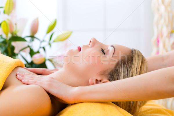 Foto stock: Bem-estar · mulher · cabeça · massagem · estância · termal · cara