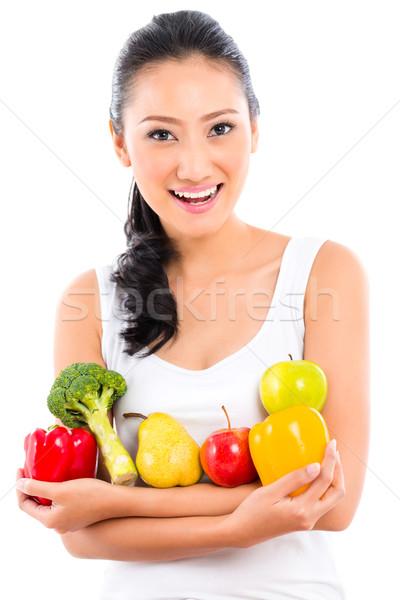 Asian donna mangiare sano frutta alimentare corpo Foto d'archivio © Kzenon