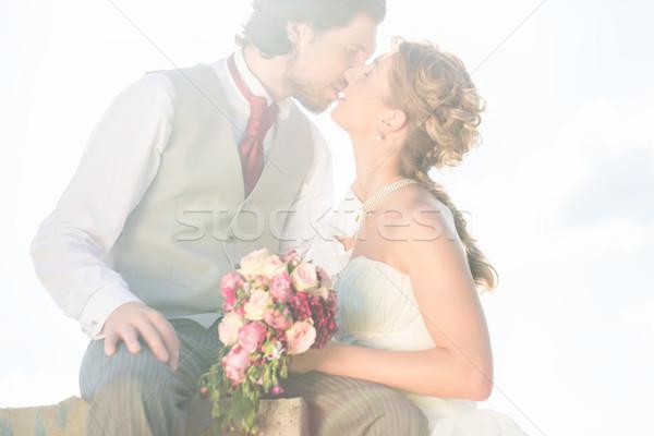 Menyasszonyi pár csók mező esküvő nő Stock fotó © Kzenon