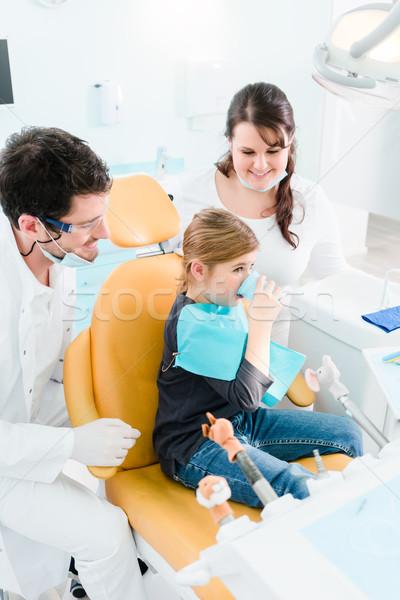Dentist treating child in his surgery Stock photo © Kzenon