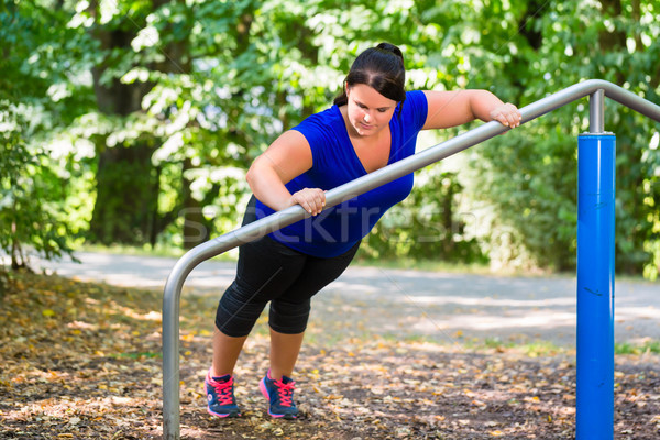 肥満した 女性 スポーツ ストレッチング 屋外 公園 ストックフォト © Kzenon