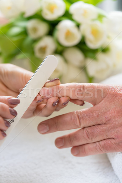 Close-up of the hands of a qualified manicurist filing the nails Stock photo © Kzenon