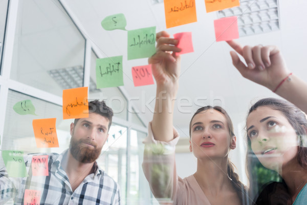Reliable young workers posting reminders in a modern co-working space Stock photo © Kzenon