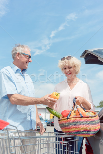 Senior man holding a shopping cart while looking at his wife with love Stock photo © Kzenon