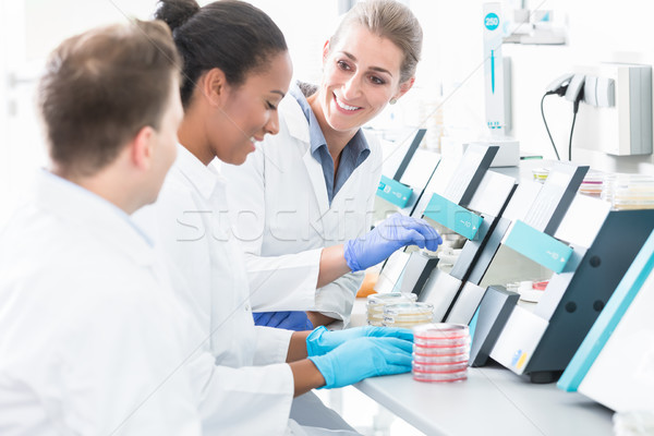 Group of researchers using scientific technology for test of samples Stock photo © Kzenon