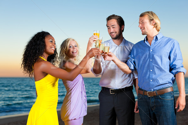 Party with champagne reception at the beach Stock photo © Kzenon