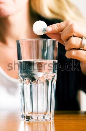 Másnaposság nő rossz víz üveg csepp Stock fotó © Kzenon