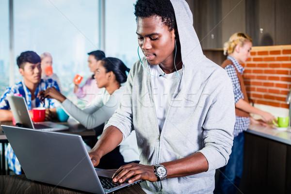 Fekete programozós társalgó startup kódolás szoftver Stock fotó © Kzenon