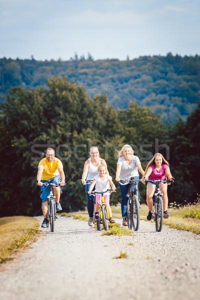 Сток-фото: семьи · верховая · езда · Велосипеды · после · полудня · лет