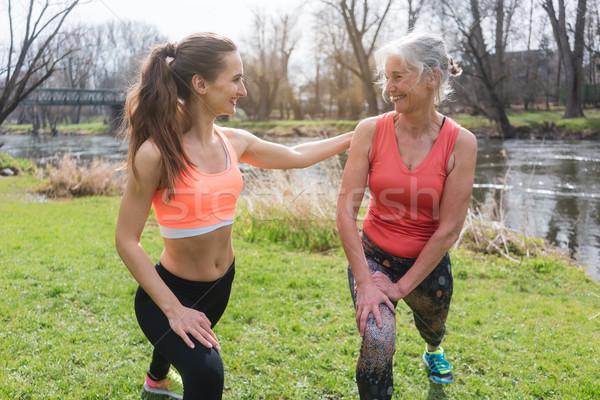 Foto stock: Altos · mujer · personal · fitness · entrenador · deporte
