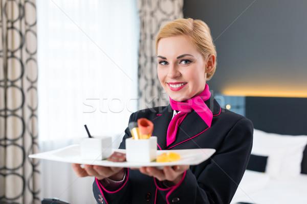 Hotel Room service serving food Stock photo © Kzenon