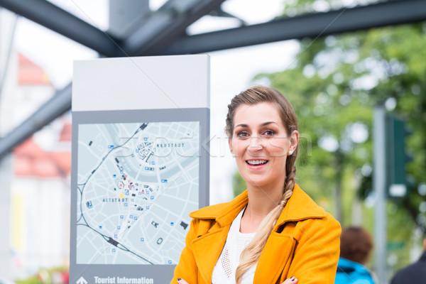 Woman in Dresden at Bus station Stock photo © Kzenon