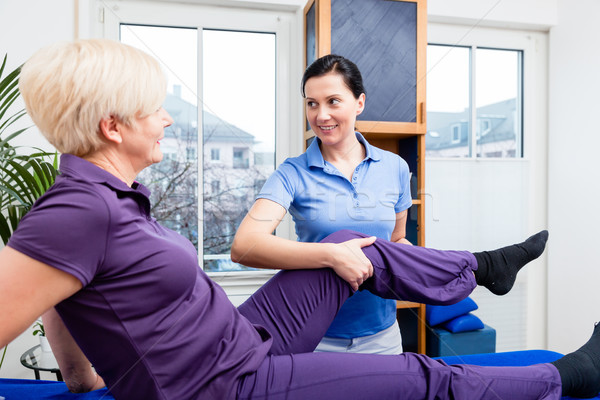 Physio doing rehab exercises with female patient Stock photo © Kzenon