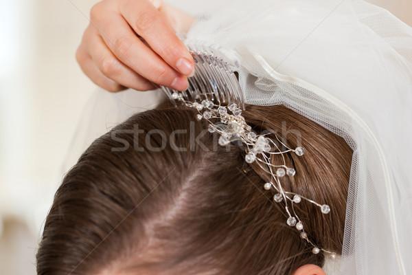 Stylist felfelé menyasszonyok hajviselet menyasszonyi fátyol Stock fotó © Kzenon