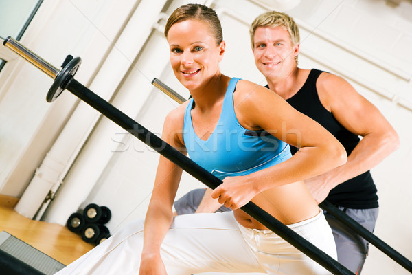 Power gymnastics with barbells Stock photo © Kzenon