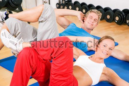 Personnes gymnase exercice balle trois personnes maturité Photo stock © Kzenon