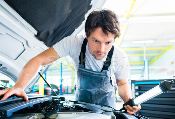 Stock photo: Auto mechanic working in car service workshop