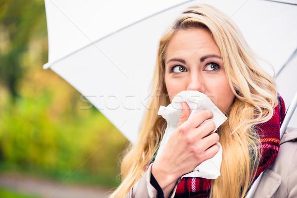 Сток-фото: женщину · холодно · грипп · плохо · осень · погода