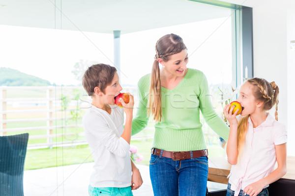Stok fotoğraf: Anne · çocuklar · elma · sağlıklı · yaşam · taze · meyve