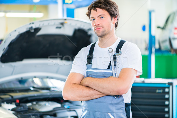 Mechanic working in car workshop Stock photo © Kzenon