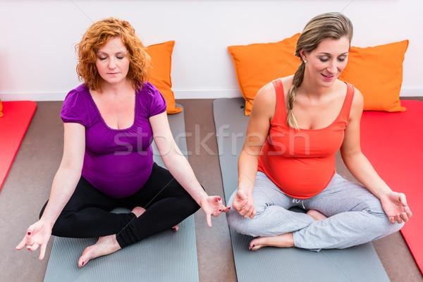 Dwie kobiety zaawansowany ciąży klasy doświadczenie posiedzenia Zdjęcia stock © Kzenon