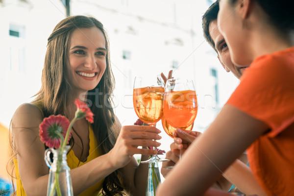 Gyönyörű nő legjobb barátok pirít frissítő ital alkoholos ital Stock fotó © Kzenon