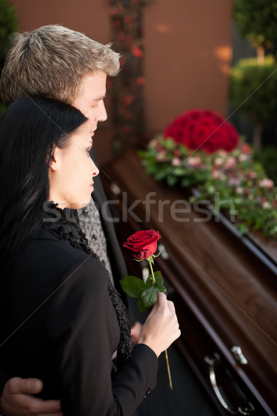 Mourning Couple at Funeral with coffin Stock photo © Kzenon