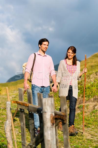 Alps - Couple hiking in Bavarian mountains Stock photo © Kzenon