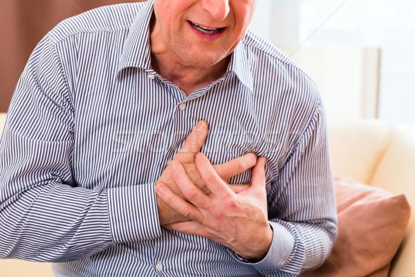 старший сердечный приступ домой старик груди Сток-фото © Kzenon
